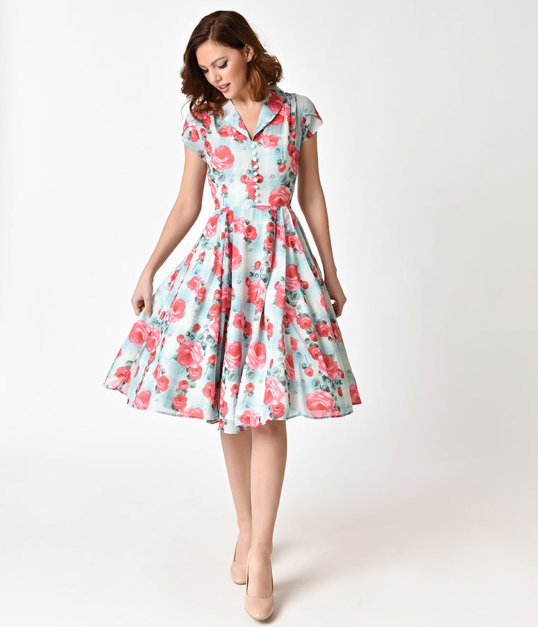 b6674ae93001 Hell Bunny 1950s Mint Floral Cap Sleeve Suzannah Chiffon Swing Dress