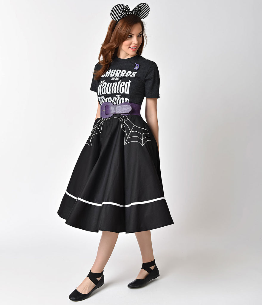 Hell Bunny 1950s Style Black Miss Muffet Embroidered Swing Skirt