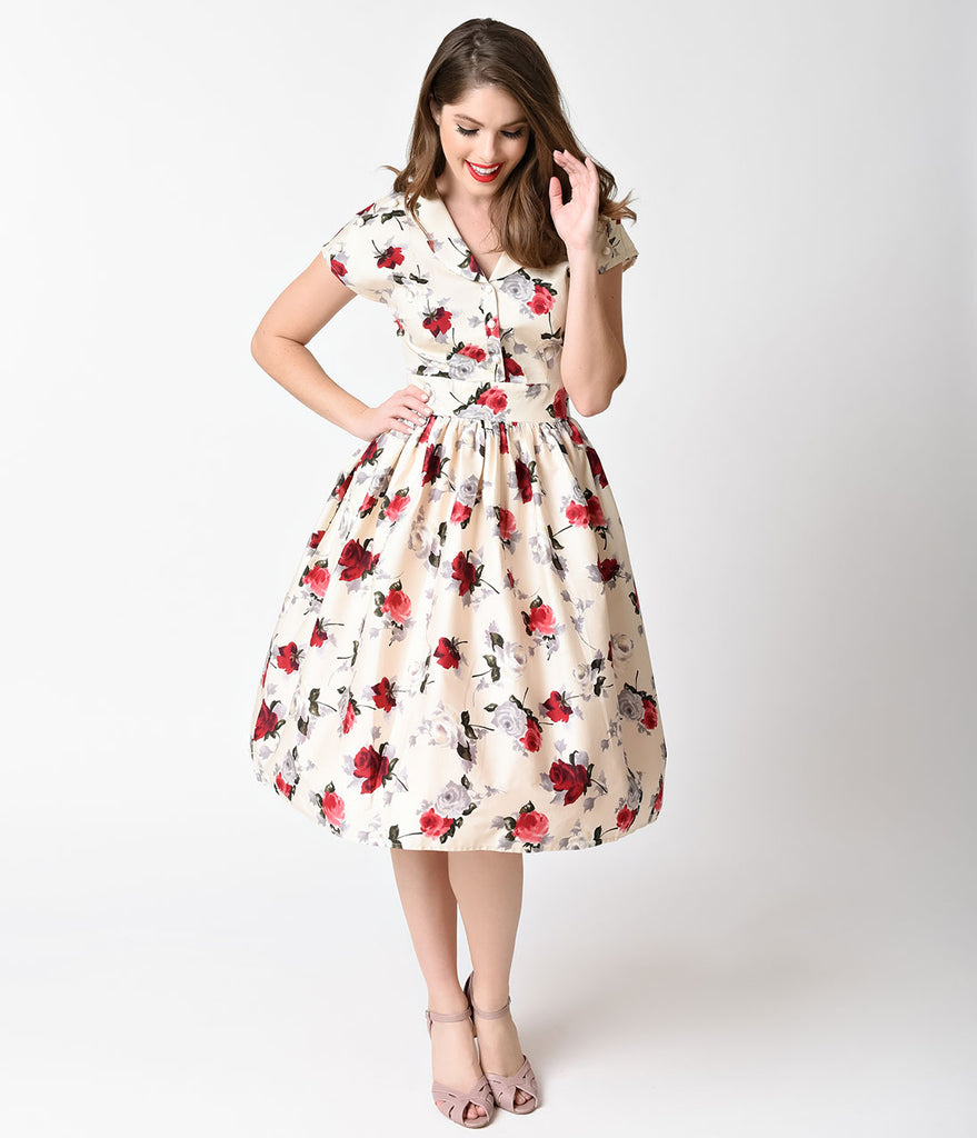 Hell Bunny 1950s Style Cream & Red Florals Rosemary Swing Dress