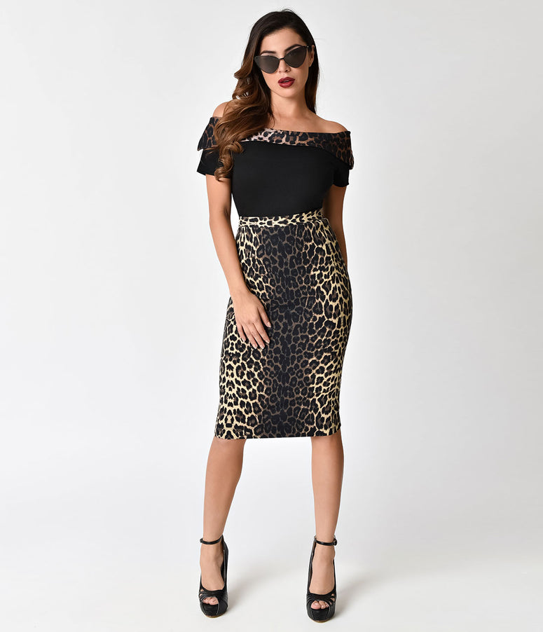 Hell Bunny 1950s Style Leopard Panthera Pencil Skirt