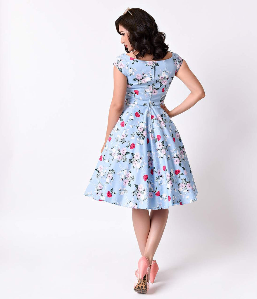 Hell Bunny 1950s Style Pale Blue Floral Cap Sleeve Belinda Swing Dress