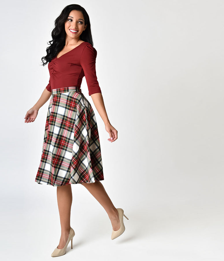 Hell Bunny 1950s Style White Plaid Doralee High Waist Swing Skirt