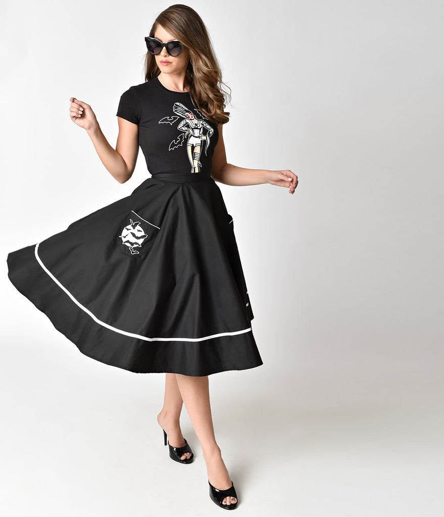 Hell Bunny Black Full Moon High Waist Swing Skirt