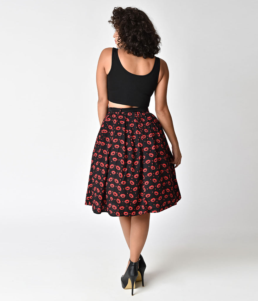 Hell Bunny Black & Red Vampire Sulpicia High Waist Swing Skirt