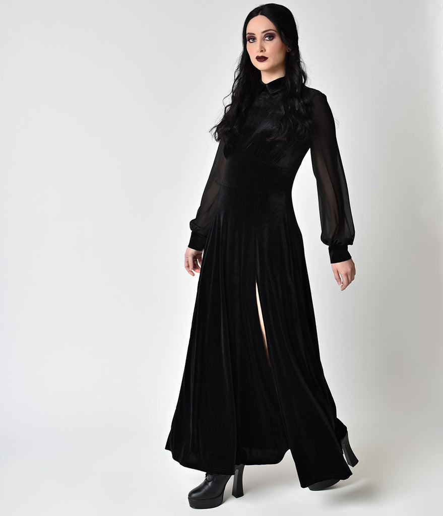 Velvet long sleeve maxi dresses