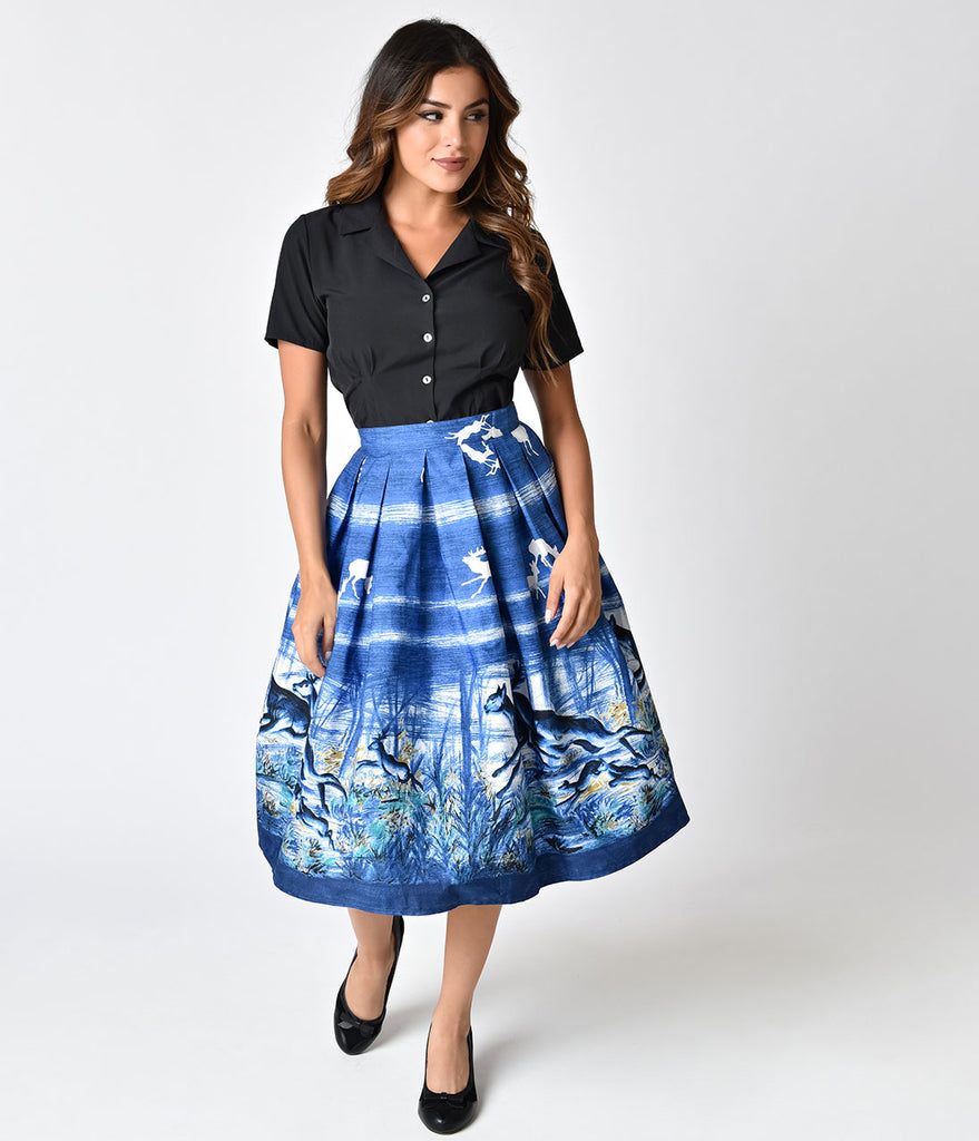 Hell Bunny Blue Montana Print High Waist Swing Skirt