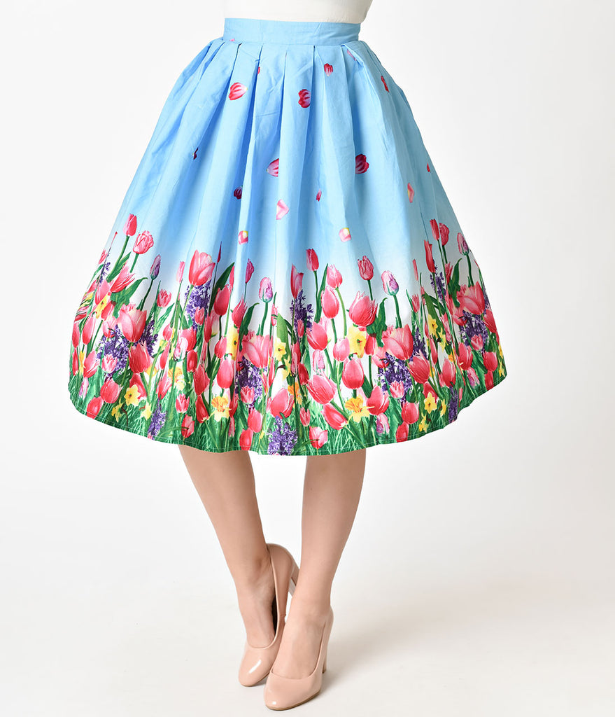 Hell Bunny Blue Tulip Print Angelique Cotton Swing Skirt