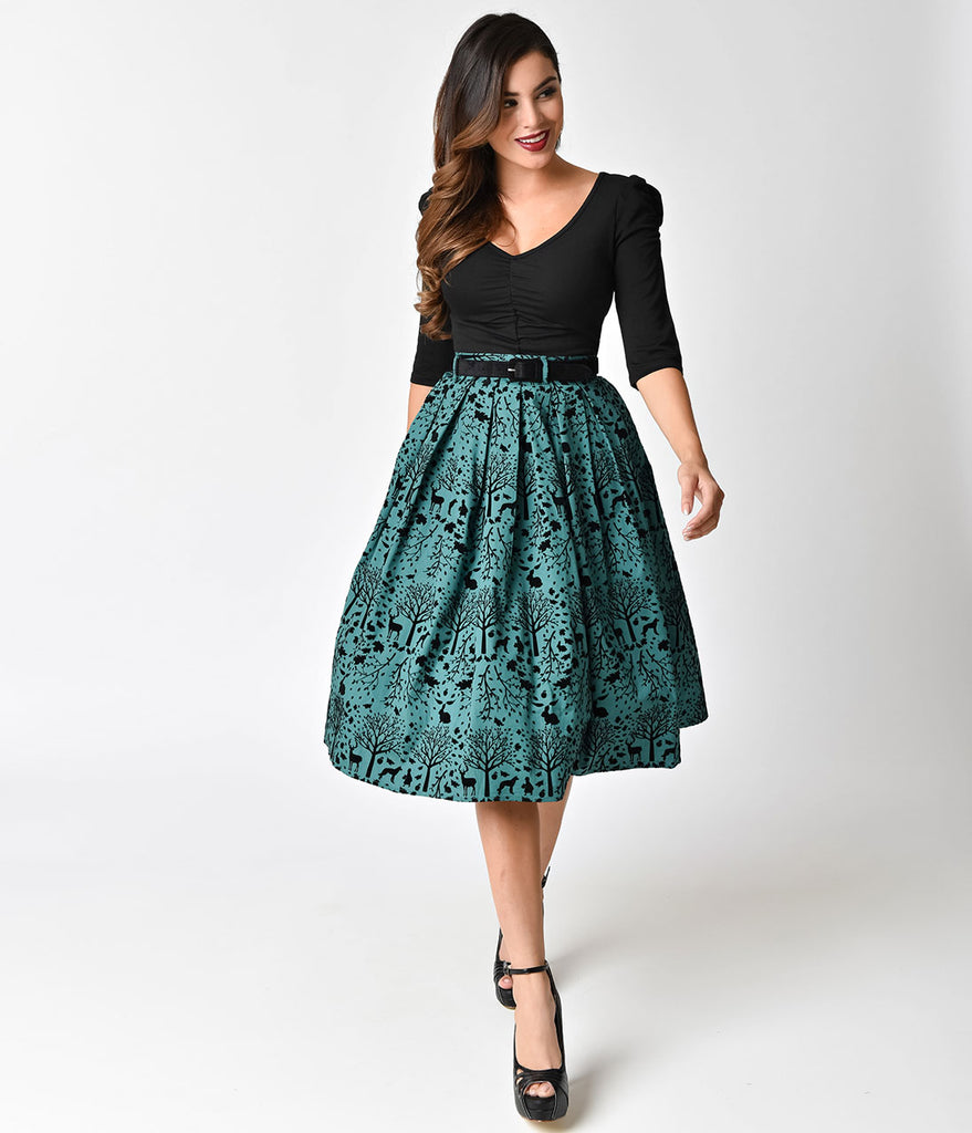 Hell Bunny Green & Black Velvet Sherwood High Waist Swing Skirt