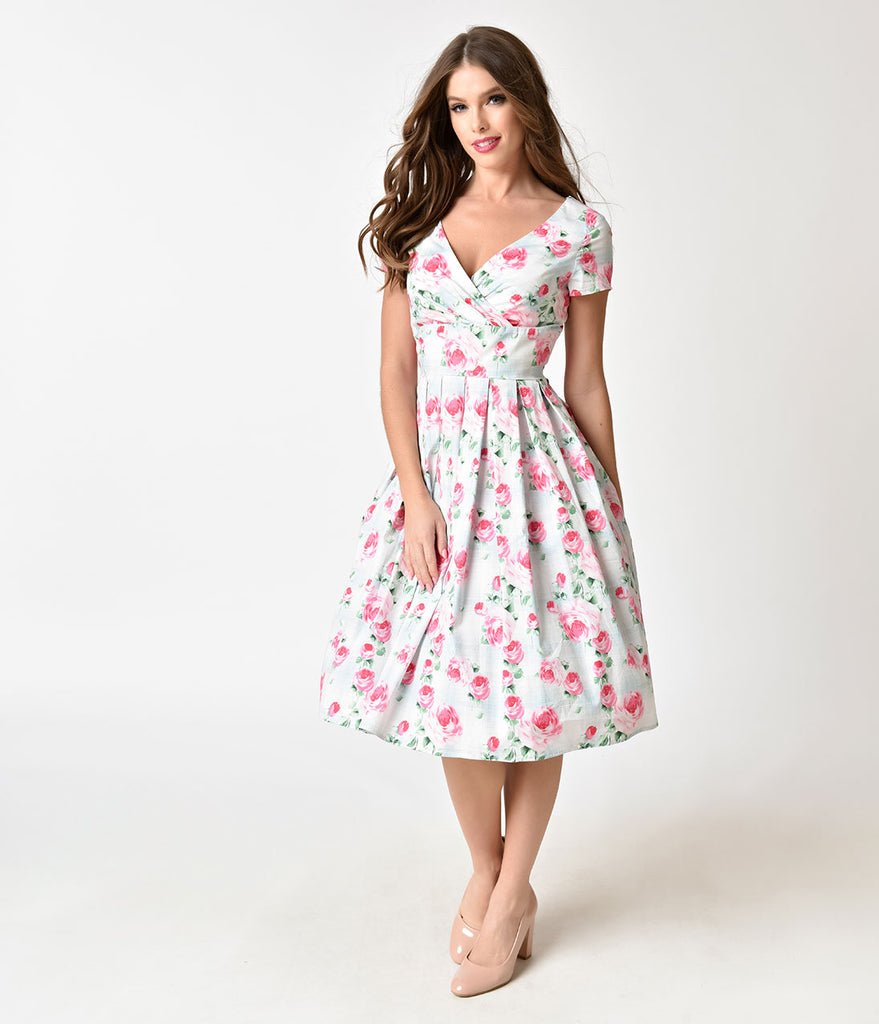 ... Hell Bunny Mint & Floral Print 1950s Style Natalie Cotton Dress ...
