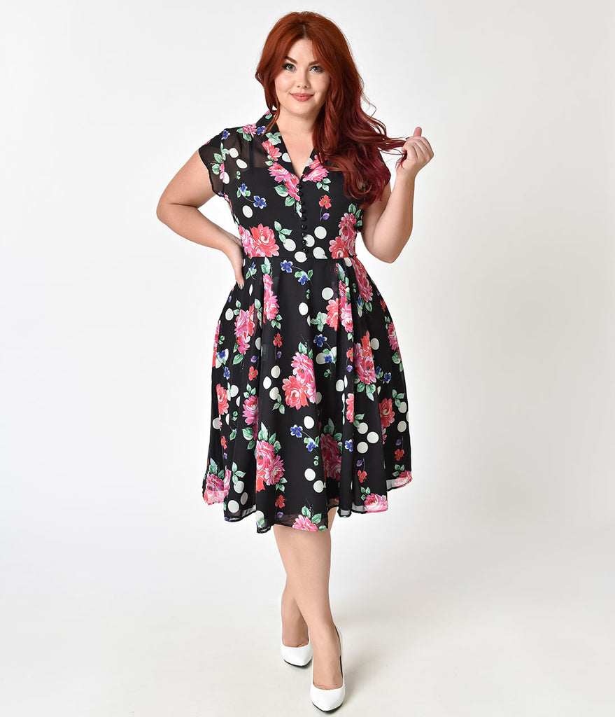 Hell Bunny Plus Size 1950s Black Floral Cap Sleeve Bloomsbury Chiffon Swing Dress ...  sc 1 st  Unique Vintage : tent dresses plus size - memphite.com