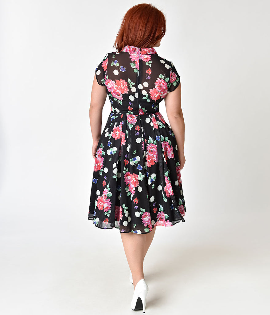 Hell Bunny Plus Size 1950s Black Floral Cap Sleeve Bloomsbury Chiffon Swing Dress