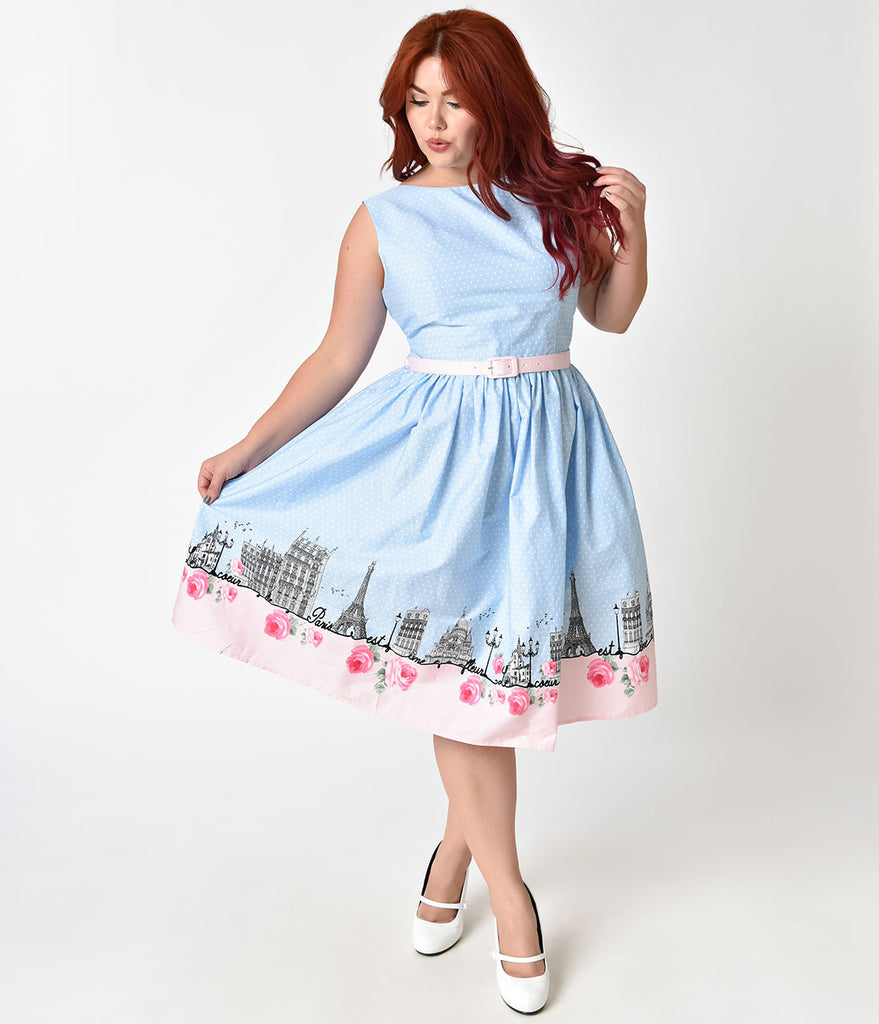 Hell Bunny Plus Size 1950s Blue Pink Paname Cotton Swing Dress