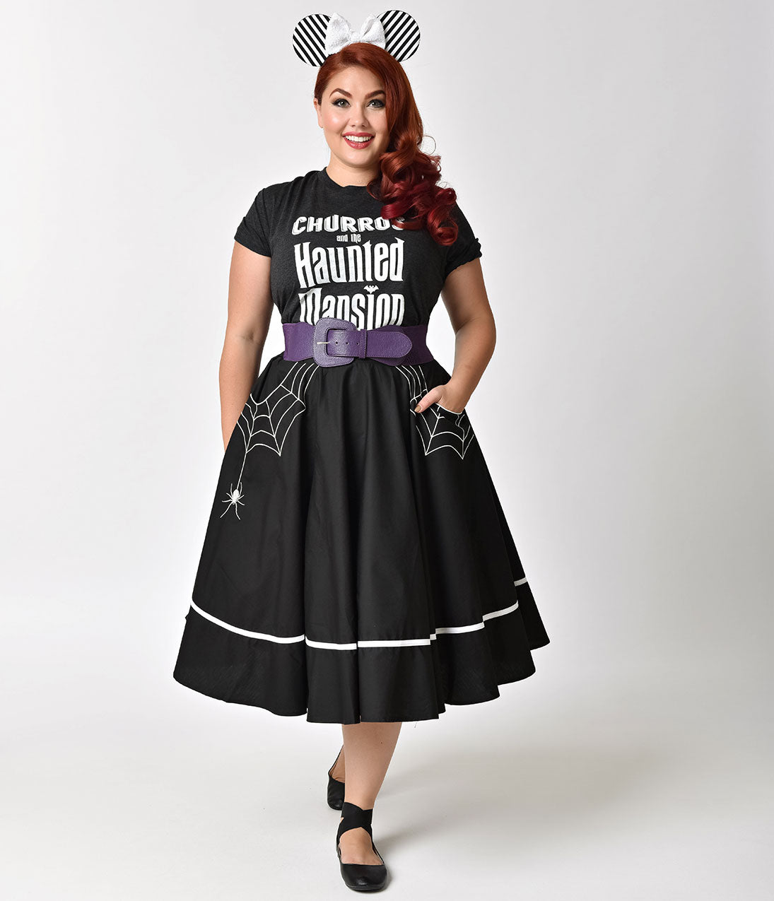 Vintage Retro Halloween Themed Clothing Hell Bunny Plus Size 1950S Style Black Miss Muffet Embroidered Swing Skirt $62.00 AT vintagedancer.com
