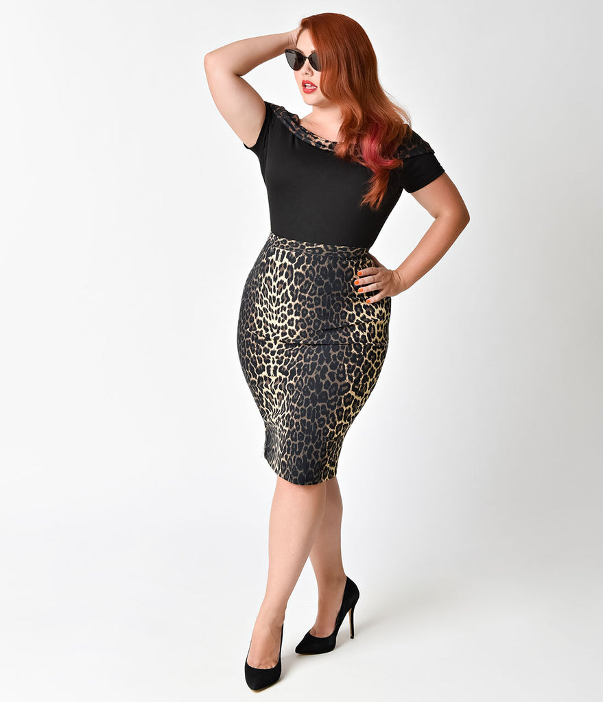 Hell Bunny Plus Size 1950s Style Leopard Panthera Pencil Skirt