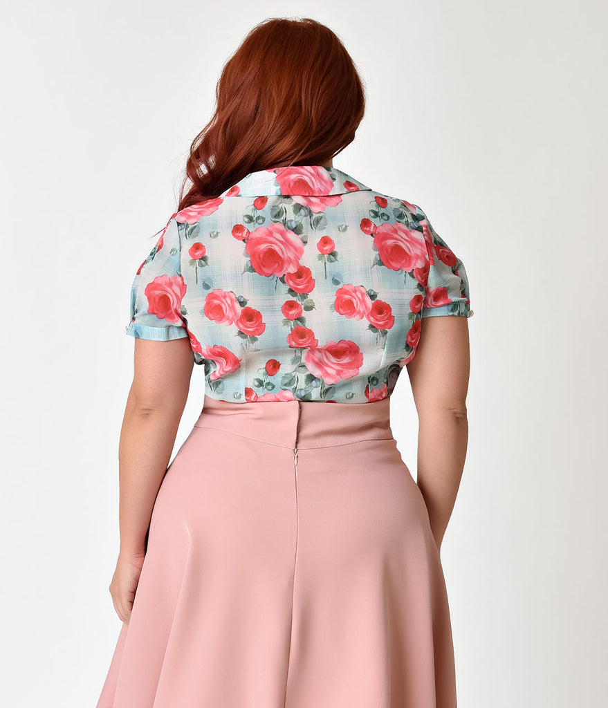 Hell Bunny Plus Size 1950s Style Mint Floral Chiffon Suzannah Blouse