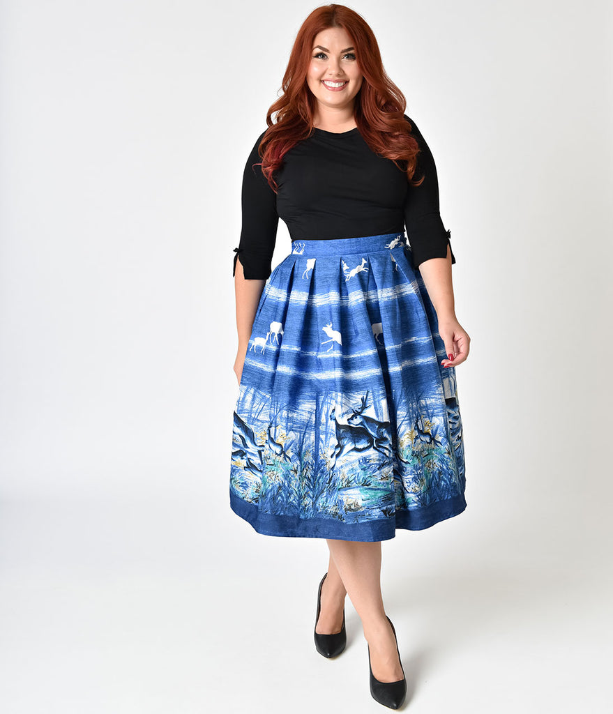 Hell Bunny Plus Size Blue Montana Print High Waist Swing Skirt