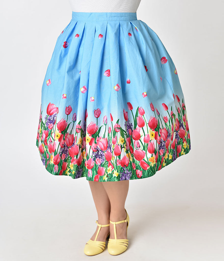 Hell Bunny Plus Size Blue Tulip Print Angelique Cotton Swing Skirt