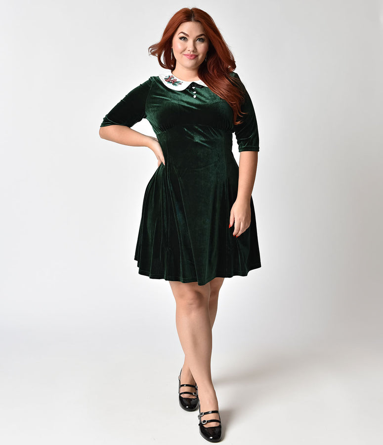 Hell Bunny Plus Size Green Velvet Merrily Mini Dress