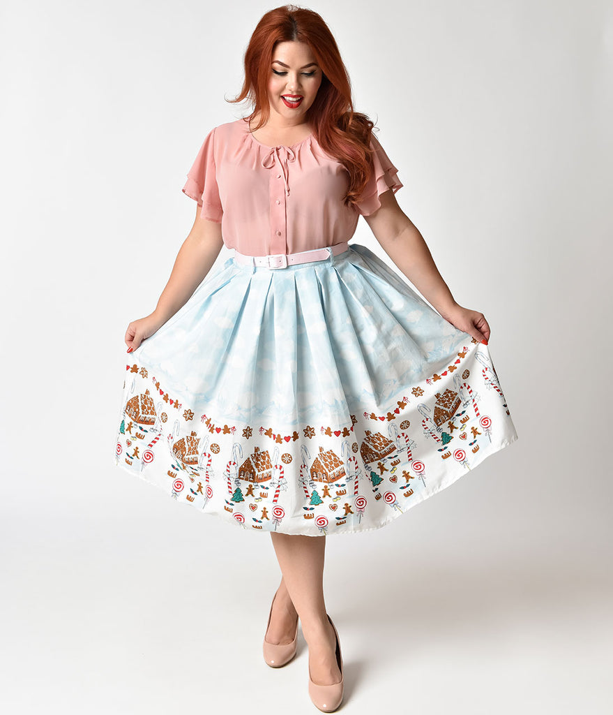 Hell Bunny Plus Size Light Blue Gingerbread Print Gigi Skirt