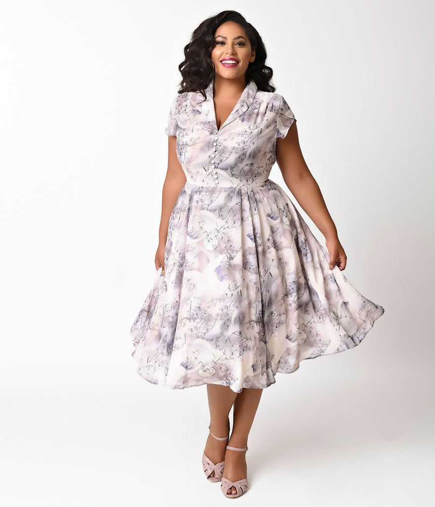 Hell Bunny Plus Size Retro Style Purple Chiffon Swing Dress