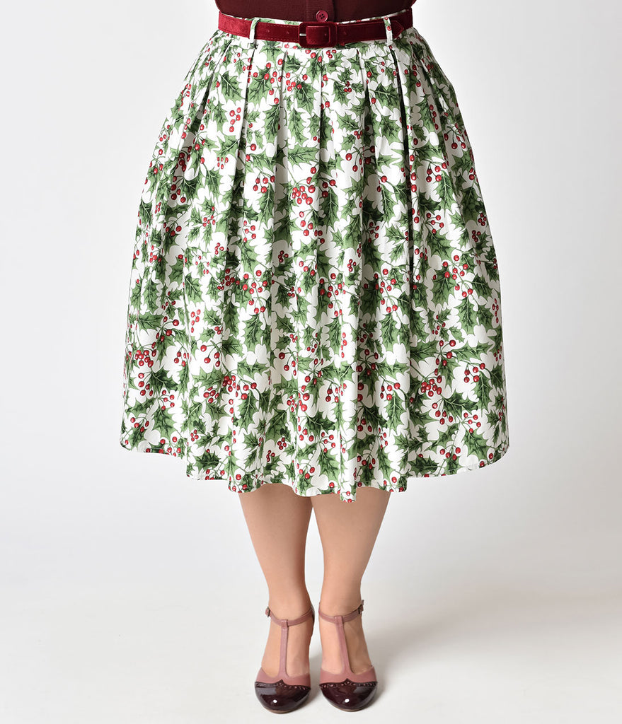 Hell Bunny Plus Size White & Holly Berry Cotton Skirt