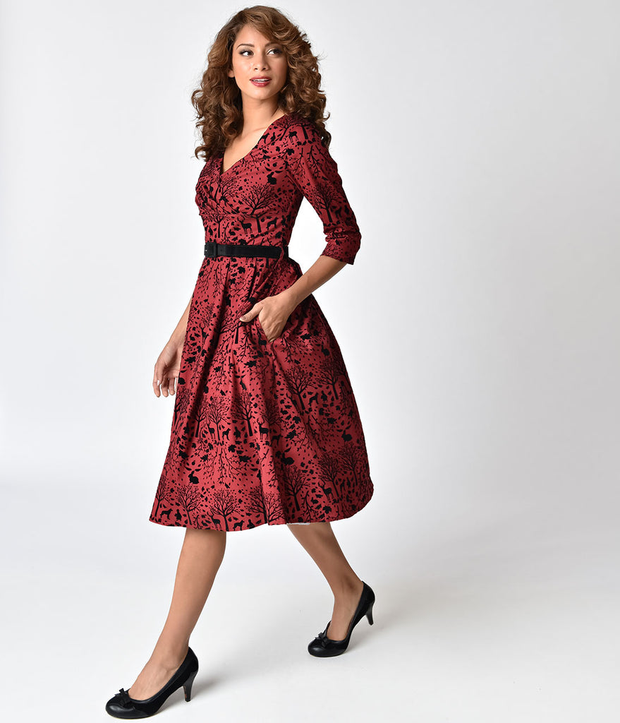 Hell Bunny Red & Black Velvet Sherwood Swing Dress