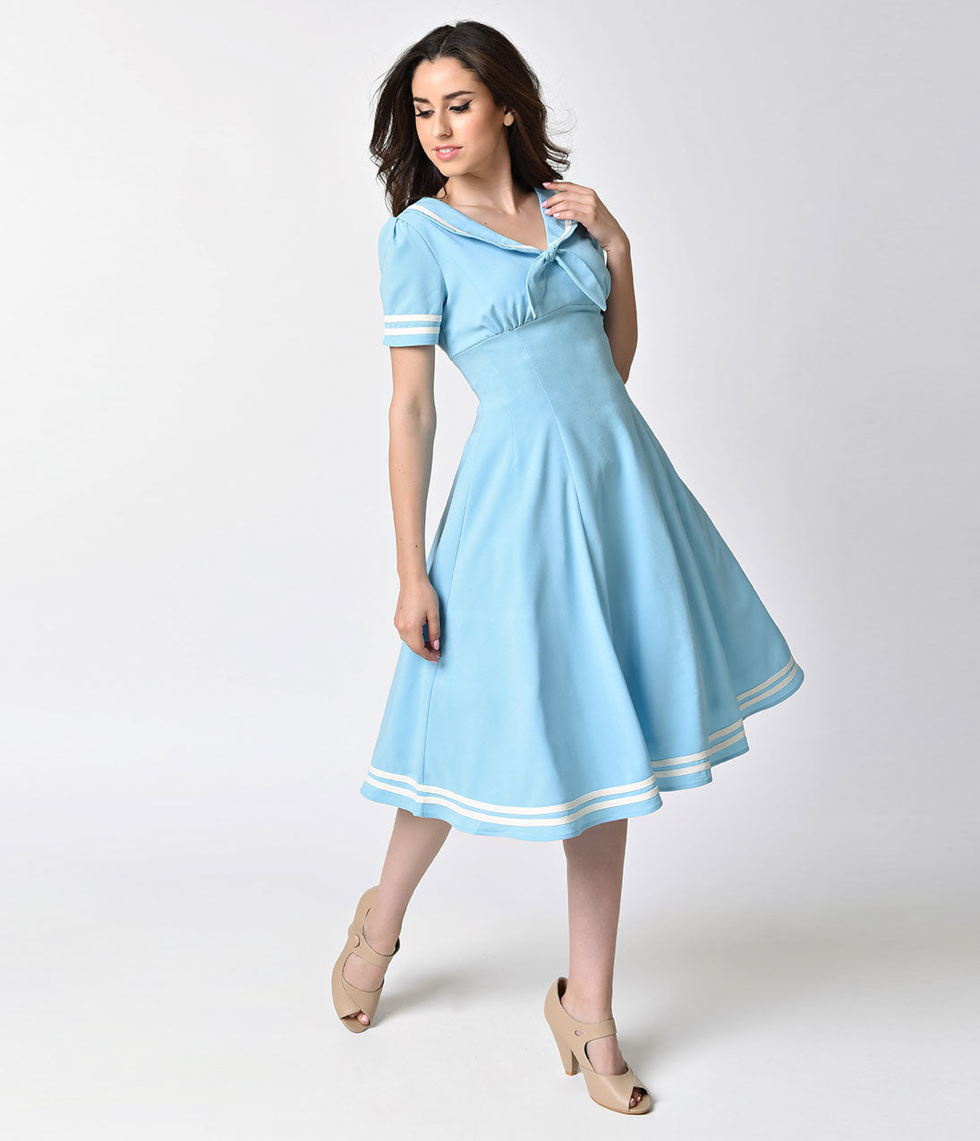 Sailor Dresses, Nautical Dress, Pin Up & WW2 Dresses Hell Bunny Retro Dusty Blue Ambleside Midi Crepe Swing Dress $50.00 AT vintagedancer.com