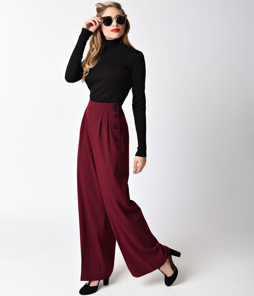 Hell Bunny Retro Style Burgundy Red High Waist Hubertine Wide Leg Pants