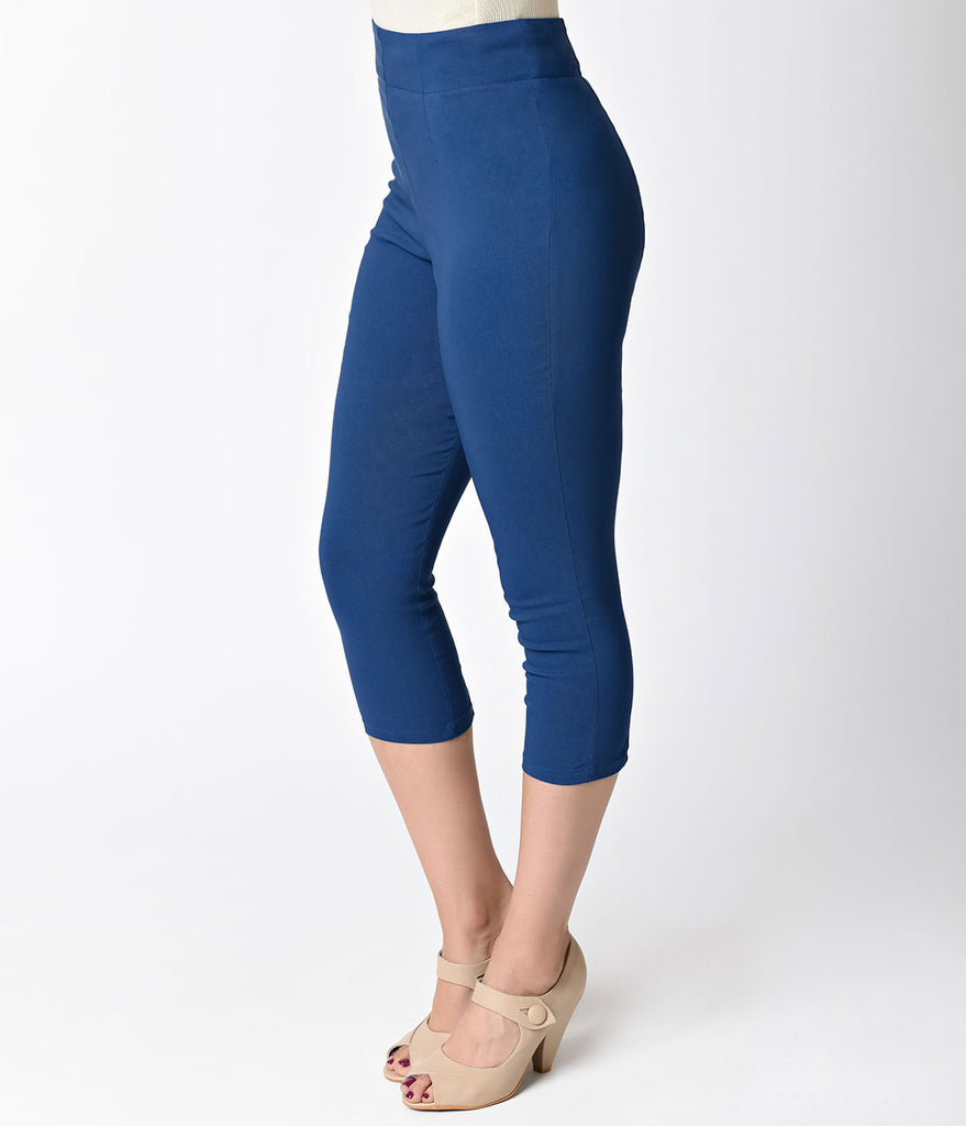 Hell Bunny Retro Style Navy Blue High Waist Stretch Tina Capri Pants