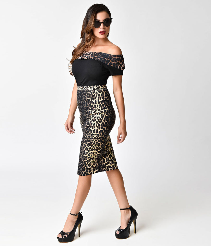 Hell Bunny Short Sleeve Black & Leopard Panthera Pinup Top