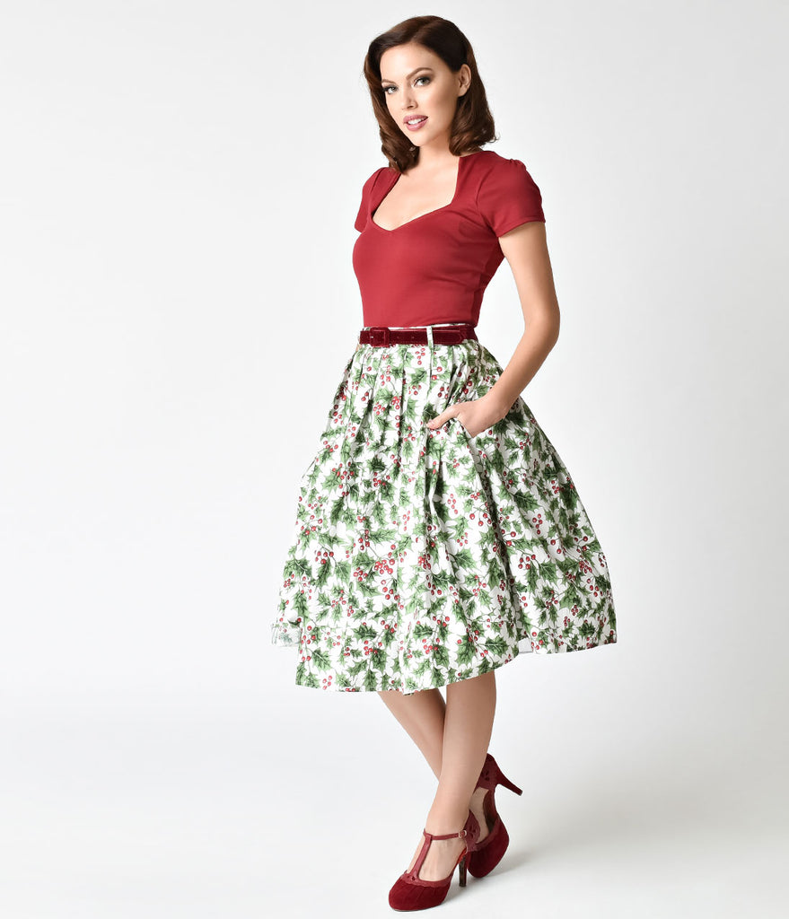 Hell Bunny White & Holly Berry Cotton Skirt