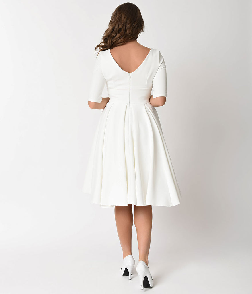 The Pretty Dress Company Ivory Crepe Sleeved Hepburn Swing Dress
