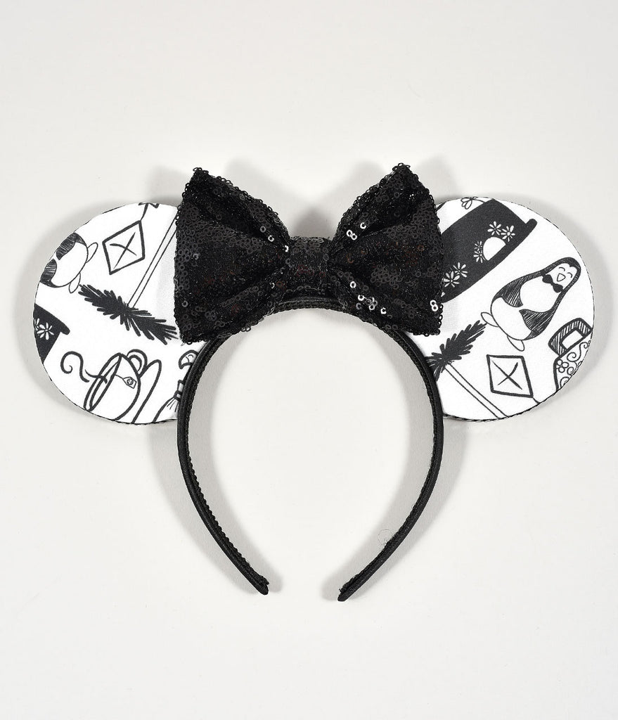 House Of Mouse Black & White Cafe Print Sequin Bow Mouse Ears Headband