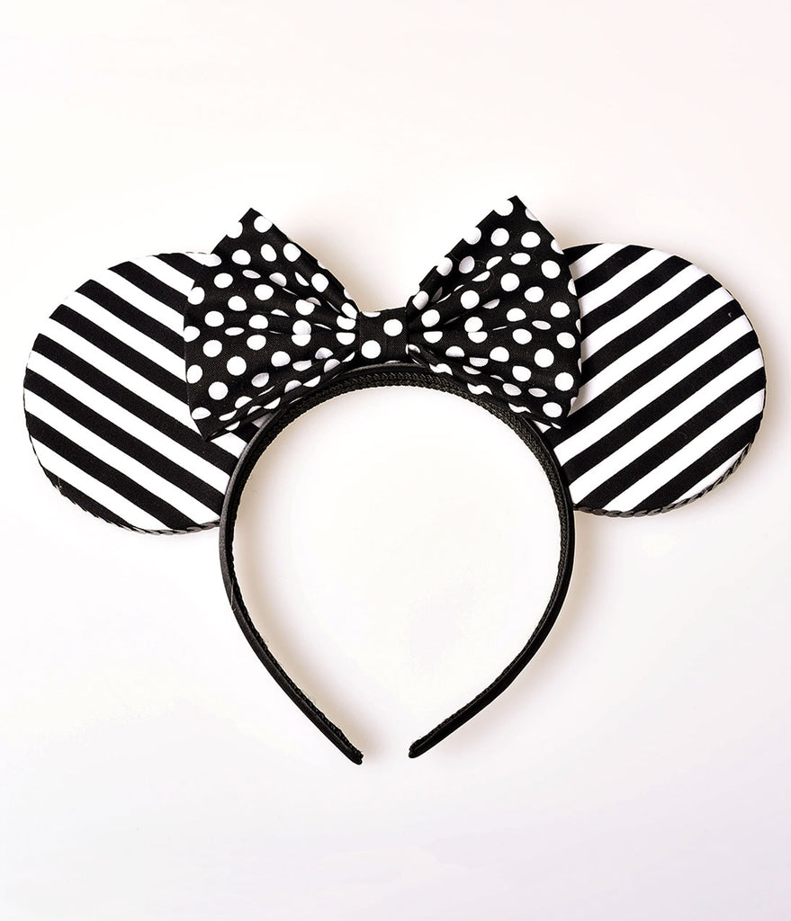 House Of Mouse Black & White Stripe & Polka Dot Bow Mouse Ears Headband