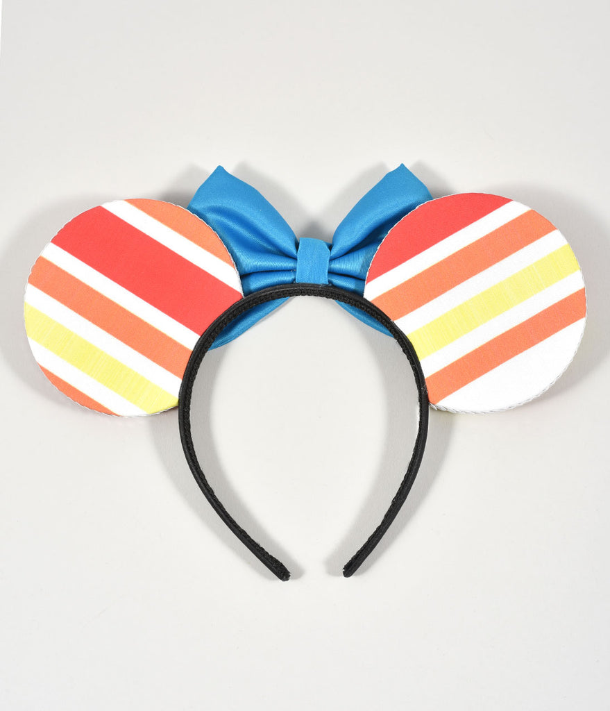 House Of Mouse Orange & White Stripe & Turquoise Bow Mouse Ears Headband