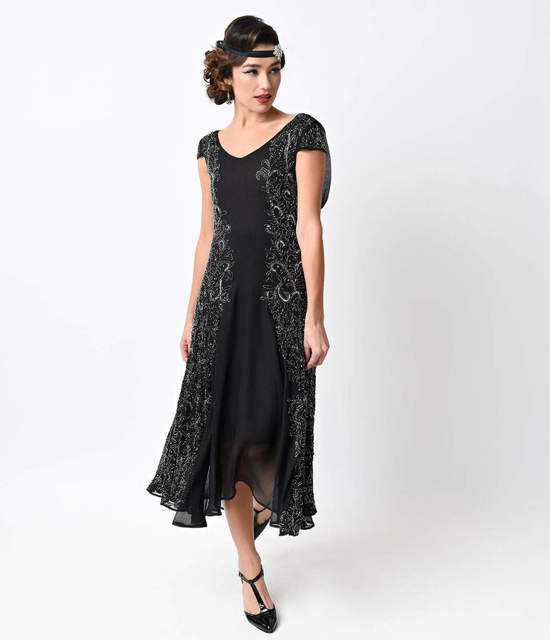Unique Vintage 1930s Black & Gunite Beaded Chiffon Elysian Dress