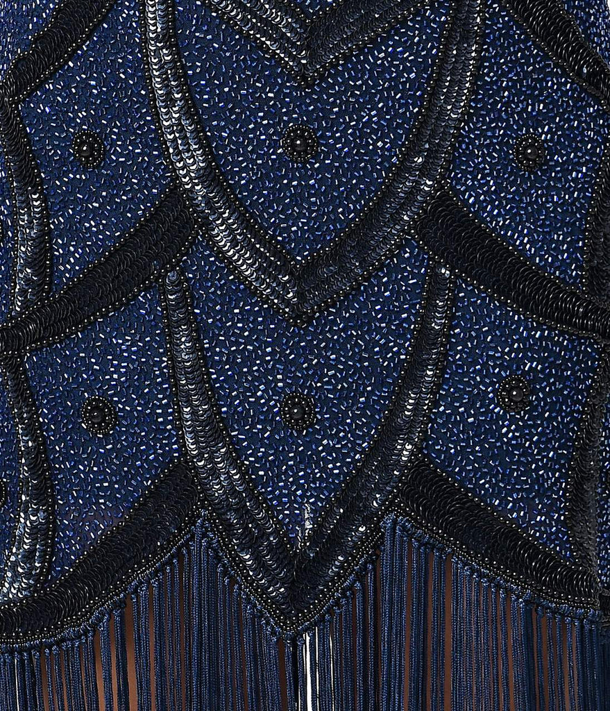 Unique Vintage Black & Blue Beaded Mesh Isadora Fringe Flapper Dress