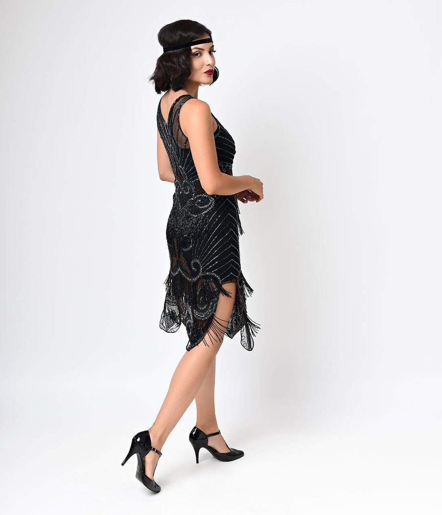 Iconic by UV Black & Bronze Beaded Mesh Atlantic Fringe Flapper Dress