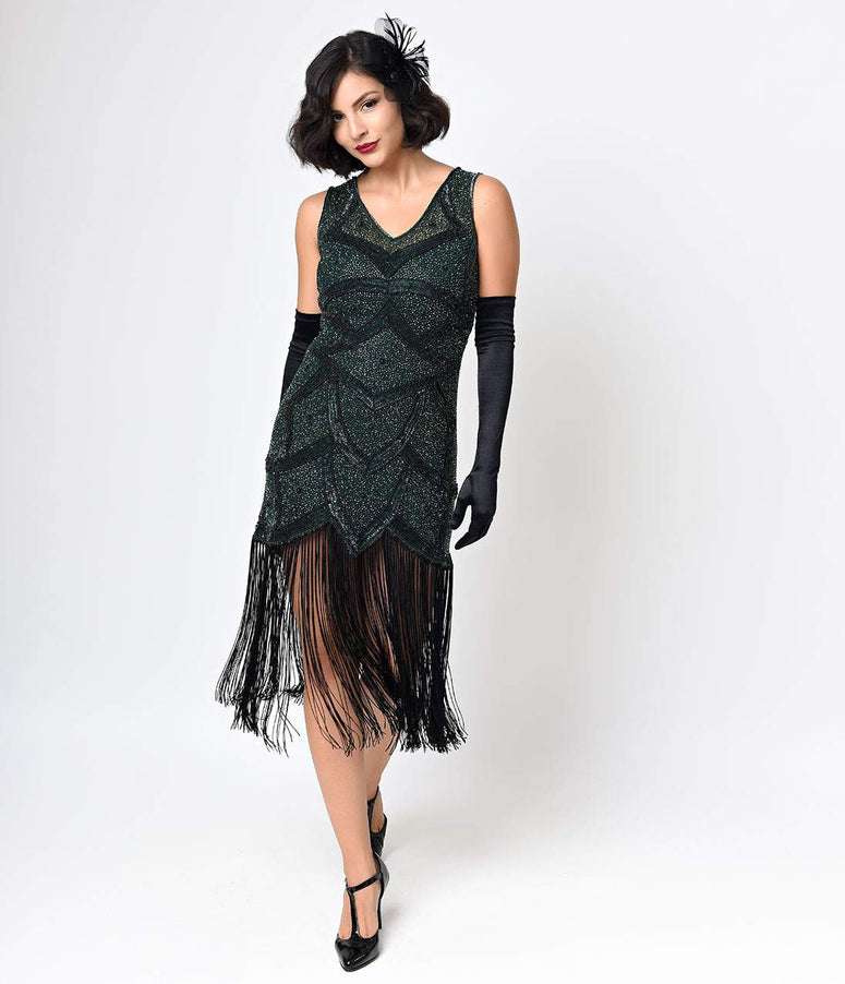 Unique Vintage Black & Green Beaded Mesh Isadora Fringe Flapper Dress