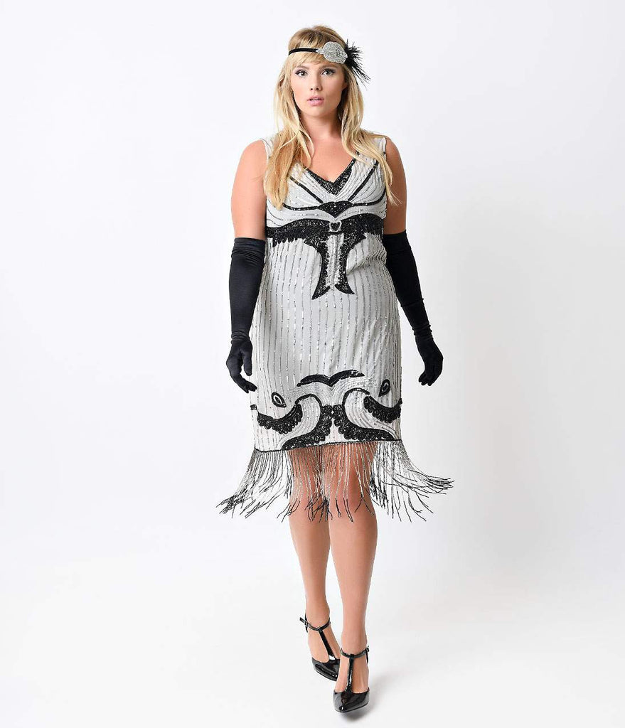 Iconic by UV Grey & Black Beaded Cable Car Chiffon Flapper Dress