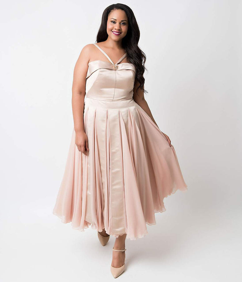 Iconic by UV Plus Size Champagne Satin & Chiffon Dovima Ballerina Swing Dress