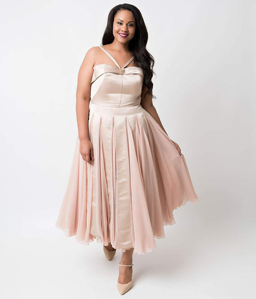 Iconic by UV Plus Size Champagne Satin & Chiffon Dovima ...