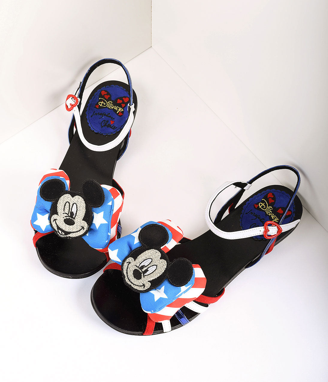 Pin Up Shoes- Heels & Flats Irregular Choice Red White  Blue Mickey Mouse Oh Toodles Sandals $162.00 AT vintagedancer.com