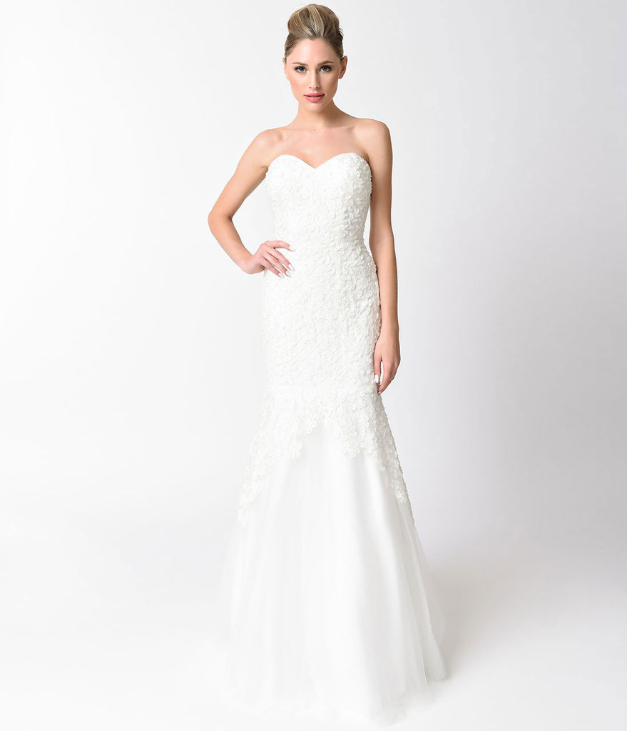 Ivory Beaded Strapless Sweetheart Mermaid Gown