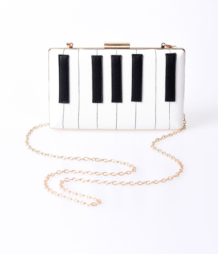 Ivory & Black Leatherette Piano Keys Hard Clutch