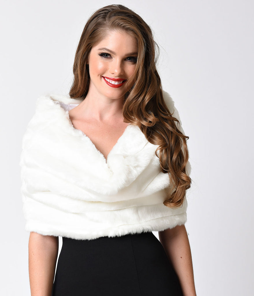 Ivory Fur & Rhinestone Clasp Shoulder Shrug