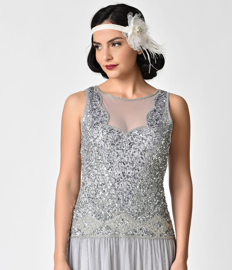 Ivory Mesh Floral & Feather Stretch Flapper Headband