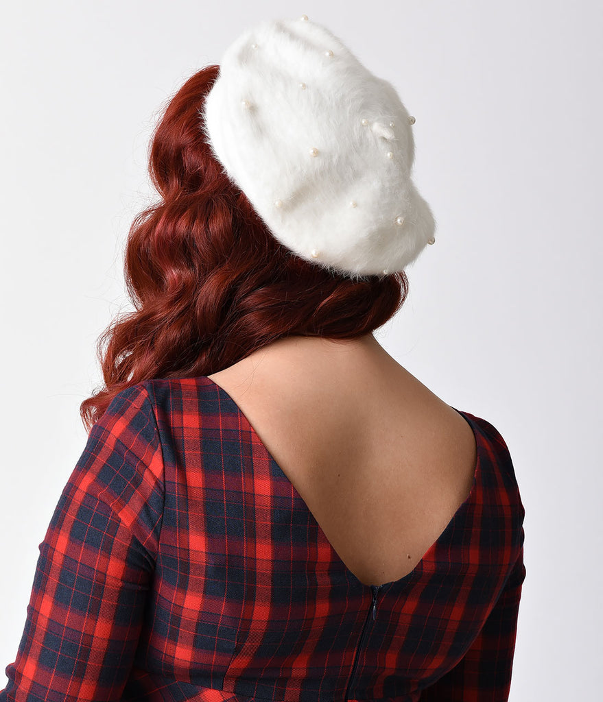 Ivory Pearl Faux Angora Beret