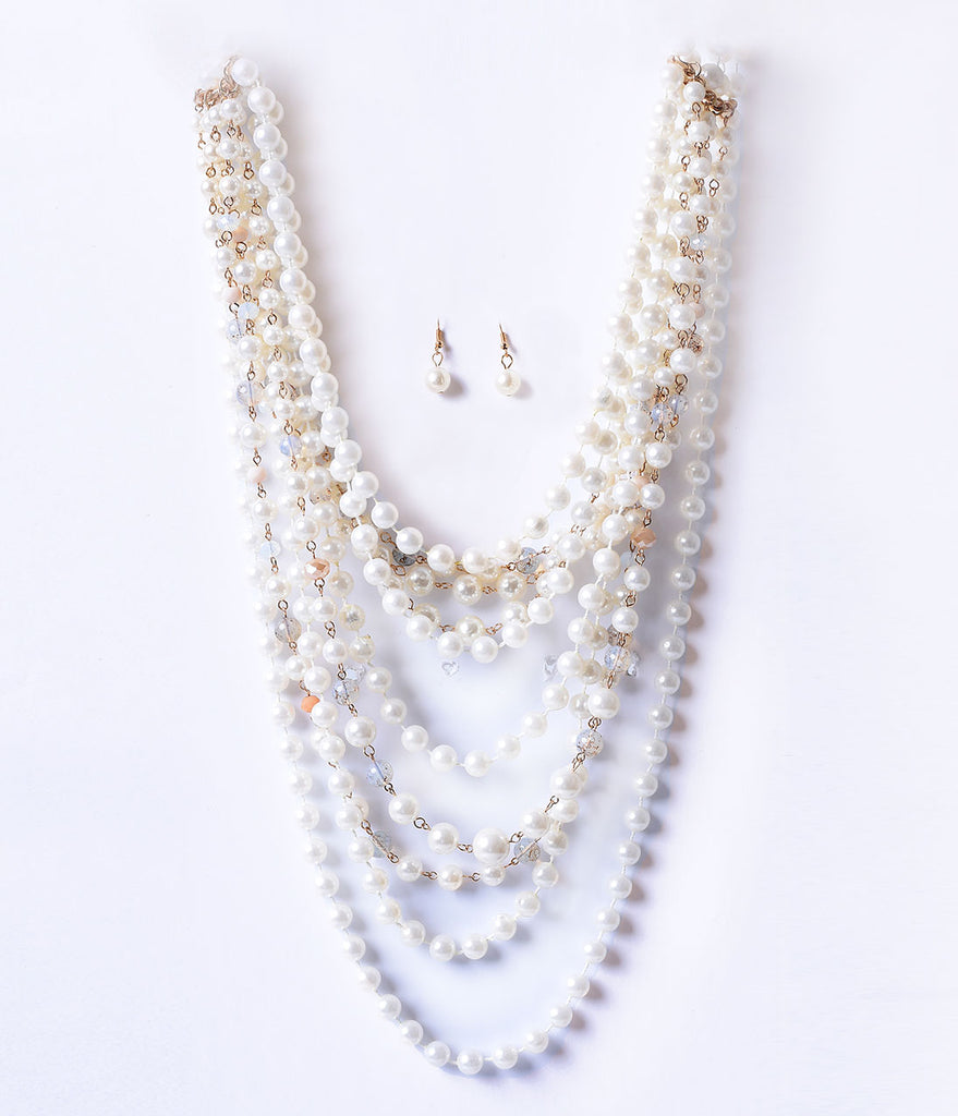 Ivory Pearl & Gem Layered Necklace & Earring Set