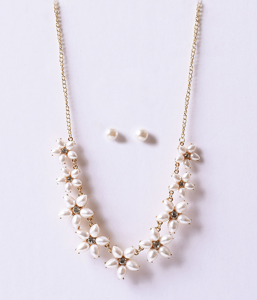 Ivory Pearl & Gold Deco Floral Necklace & Earring Set